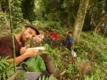 Jörn, Johanna, Enrique und Daniel machen Mittagspause im Wald