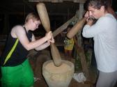 Die Freiwilligen machen Reis